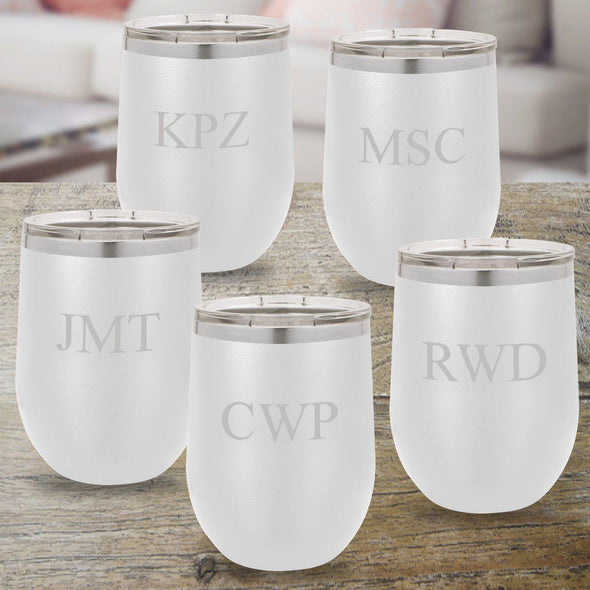 Set of 5 Personalized White 12oz. Insulated Wine Tumblers - 3 Initials - JDS