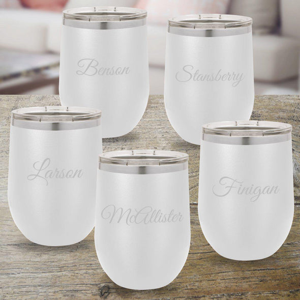 Set of 5 Personalized White 12oz. Insulated Wine Tumblers - Script - JDS