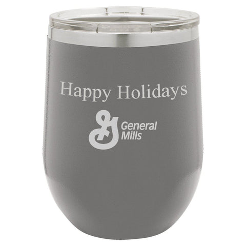 Insulated Grey Wine Tumbler - Corporate Gift - Dark Gray -