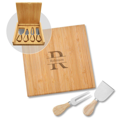 Personalized Bamboo 8x 8 Cheese Spreader and Knife -  - JDS
