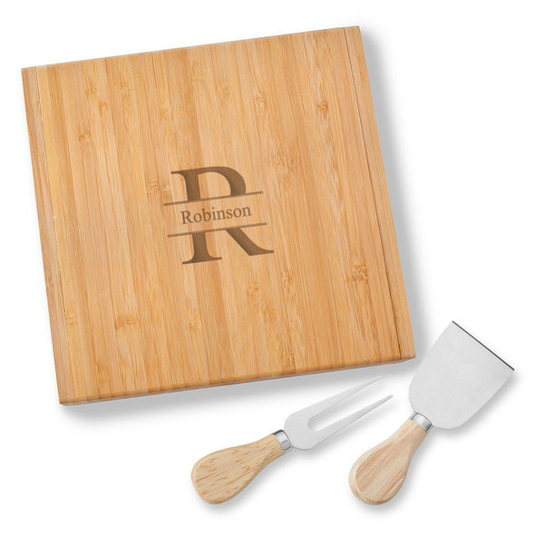 Personalized Bamboo 8x 8 Cheese Spreader and Knife - Stamped - JDS
