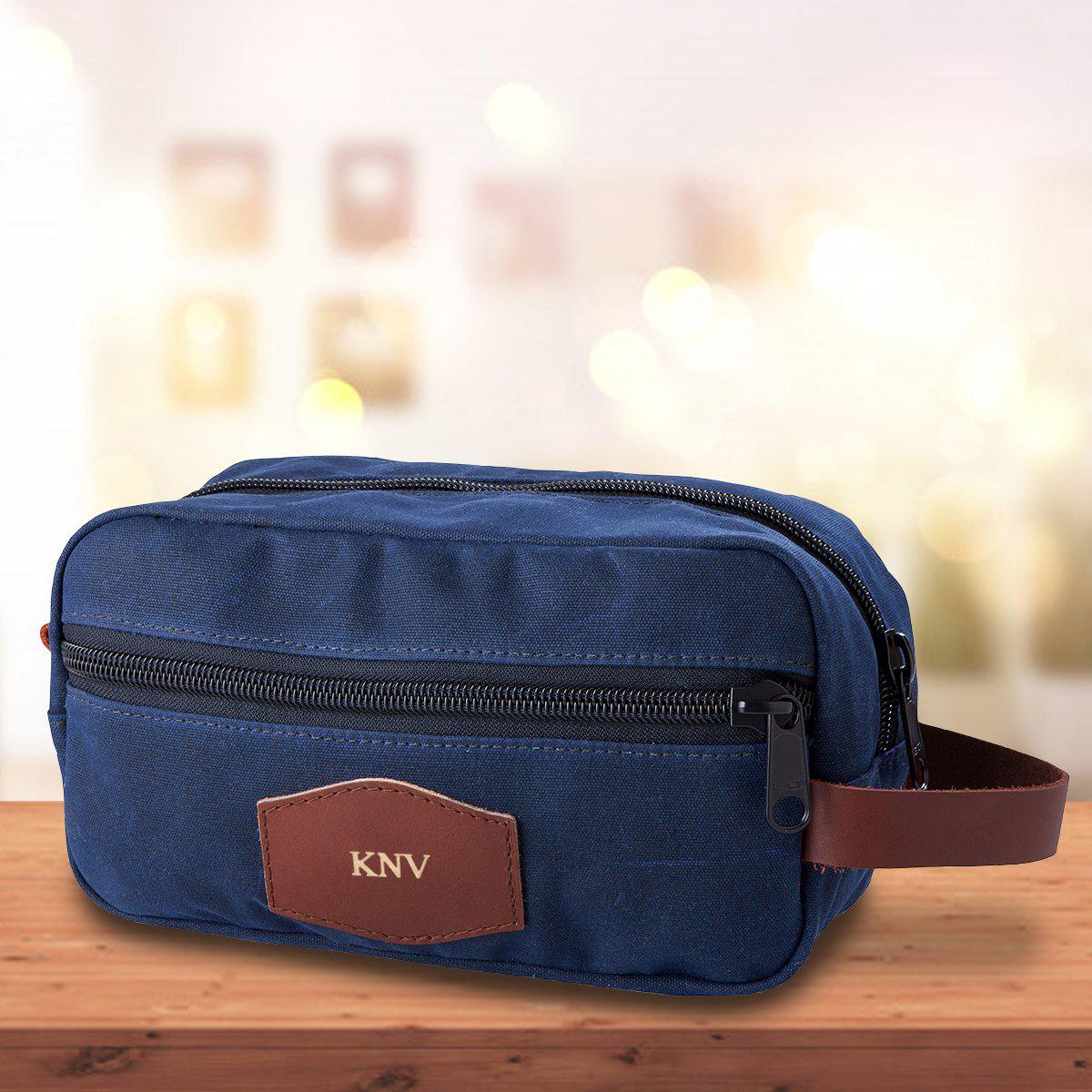 Personalized Blue Men's Waxed Canvas Travel Toiletry Bag