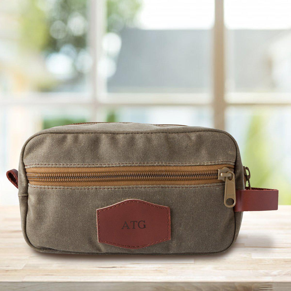 Personalized Waxed Canvas Field Tan Men's Toiletry Bag