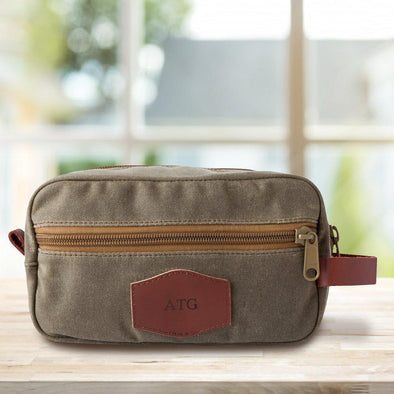 Personalized Field Tan Men's Waxed Canvas Travel Toiletry Bag - Blind - JDS