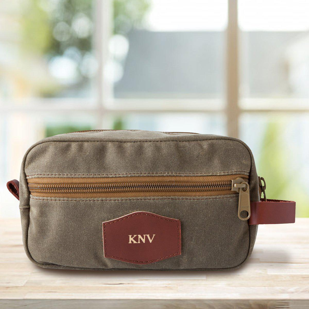 Personalized Men's Field Tan Waxed Canvas Toiletry Bag