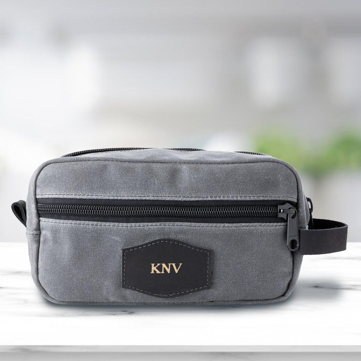 Personalized Men's Travel Bag - Waxed Canvas - Charcoal