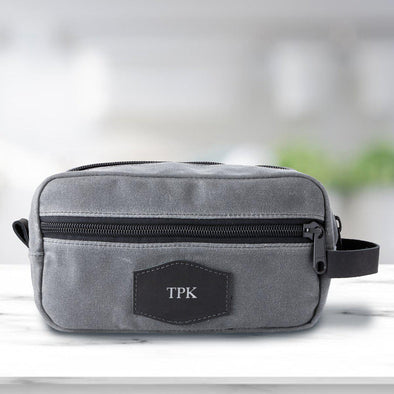 Personalized Waxed Canvas Charcoal Men's Toiletry Bag - Silver - JDS