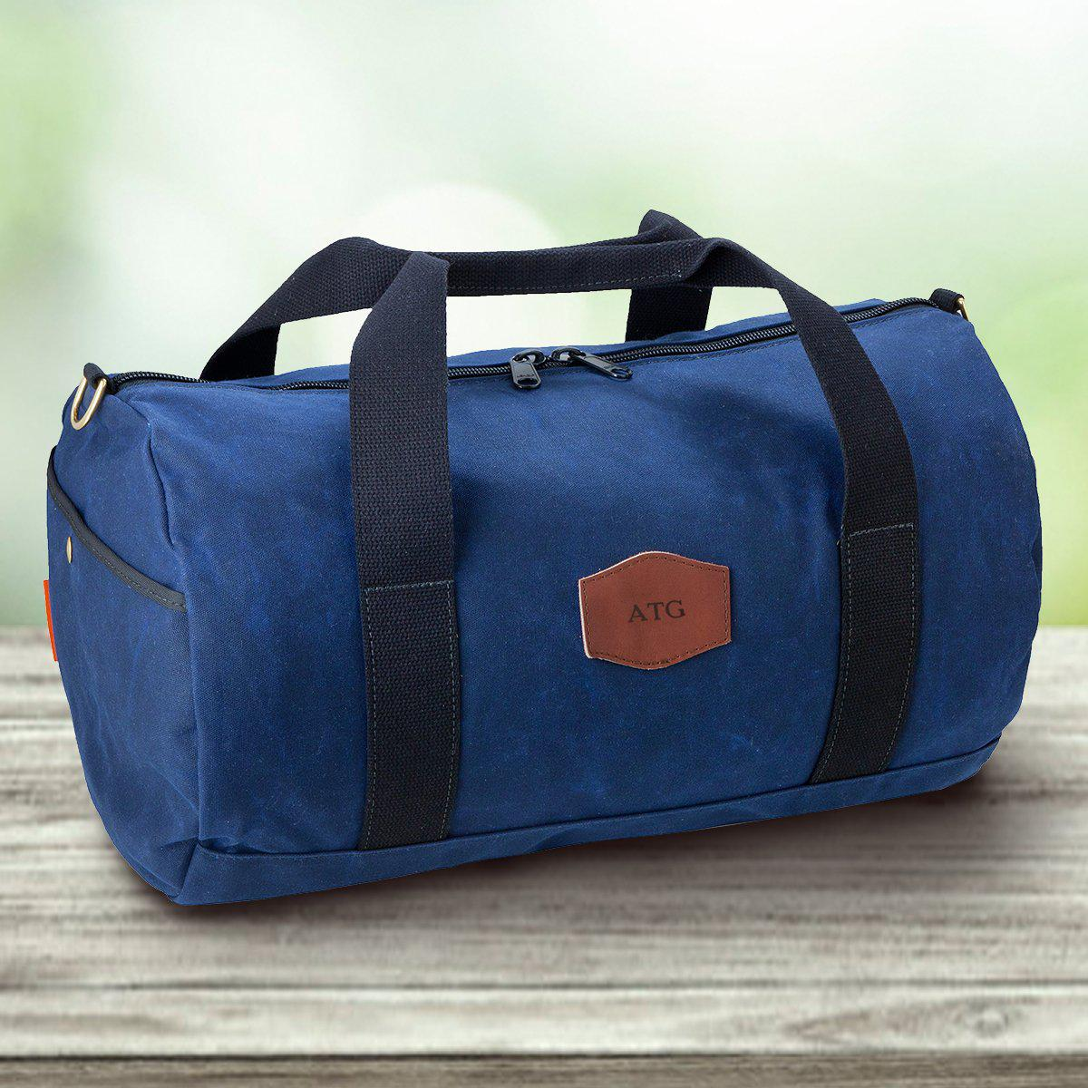 Personalized Waxed Canvas Blue Duffle Bag