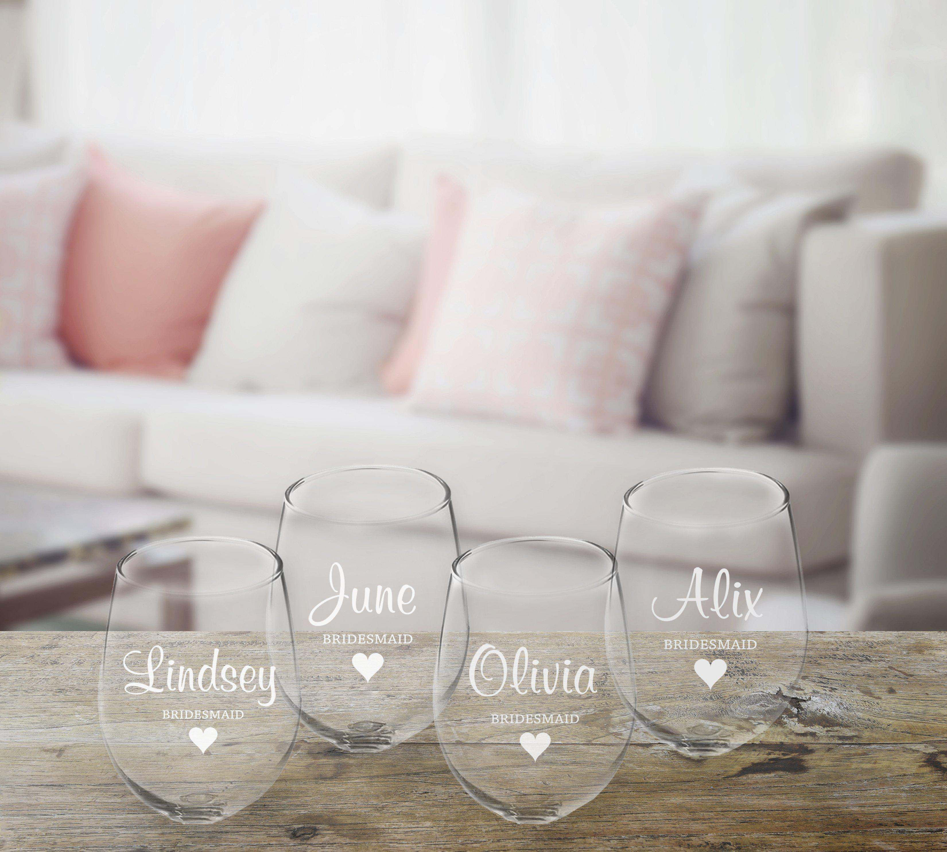Personalized Bridal Party Stemless Wine Glass - Set of 4