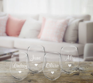 Personalized Bridal Party Stemless Wine Glass – Set of 4 -  - JDS