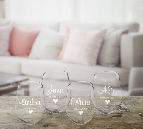 Personalized Bridal Party Stemless Wine Glass – Set of 4 at AGiftPersonalized