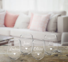 Personalized Bridal Party Stemless Wine Glass – Set of 4