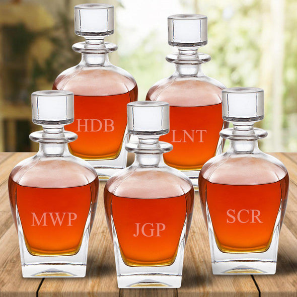 Set of 5 Groomsmen Personalized Antique Whiskey Decanters - 3Initials - JDS