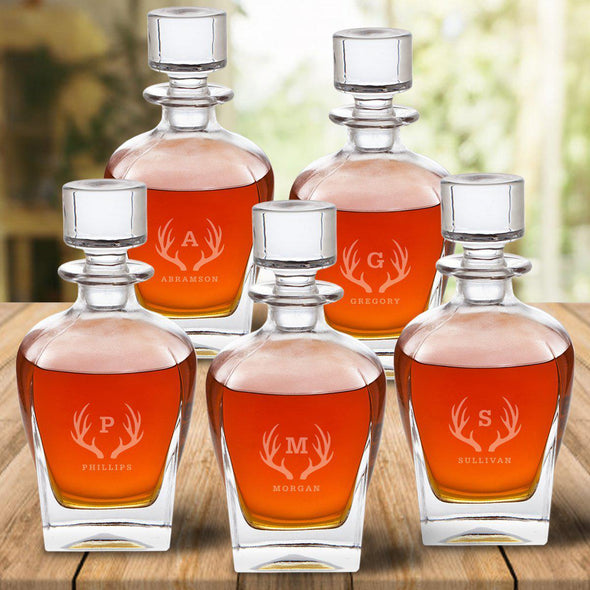 Set of 5 Groomsmen Personalized Antique Whiskey Decanters - Antlers - JDS