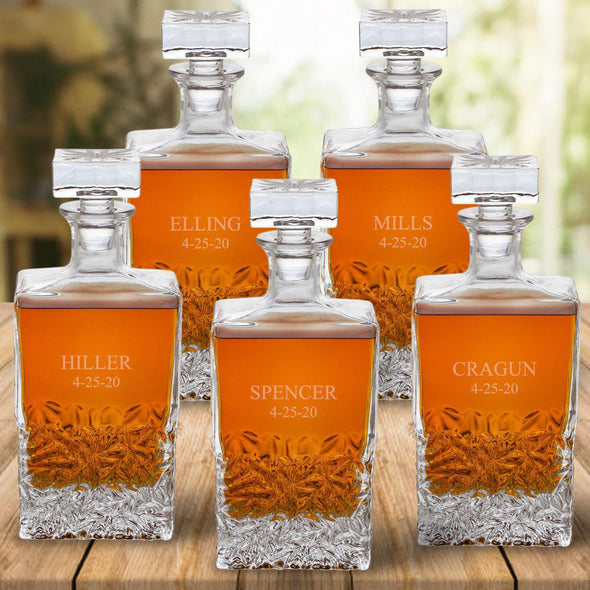 Set of 5 Groomsmen Kinsale Personalized Whiskey Decanters - 2Lines - JDS