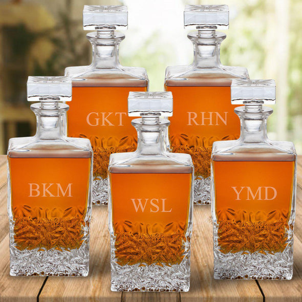 Set of 5 Groomsmen Kinsale Personalized Whiskey Decanters - 3Initials - JDS