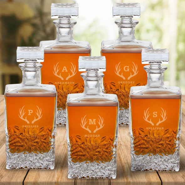 Set of 5 Groomsmen Kinsale Personalized Whiskey Decanters - Antlers - JDS