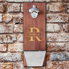 Personalized Wood Cap Catching Bottle Opener - Stamped