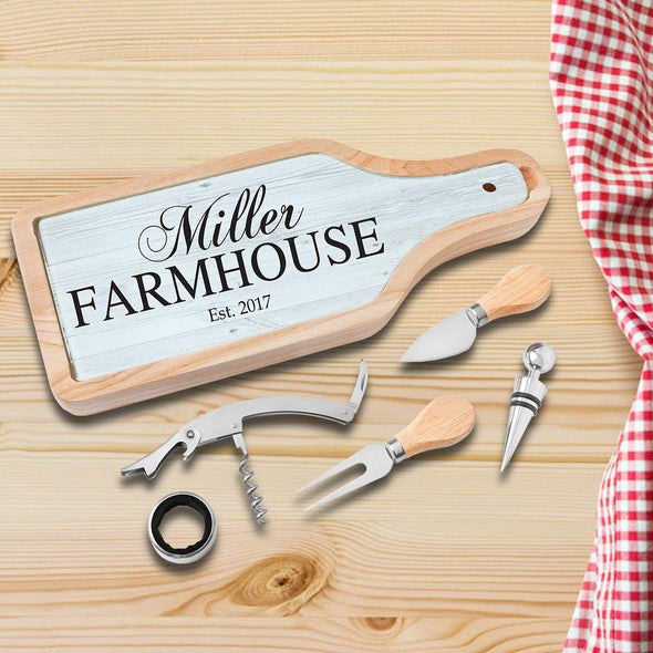 Personalized Cheese and Wine Tool Set with Glass Cutting Board - Farmhouse - JDS