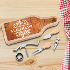 Personalized Glass Cutting Board - Cheese and Wine Tool Set at AGiftPersonalized