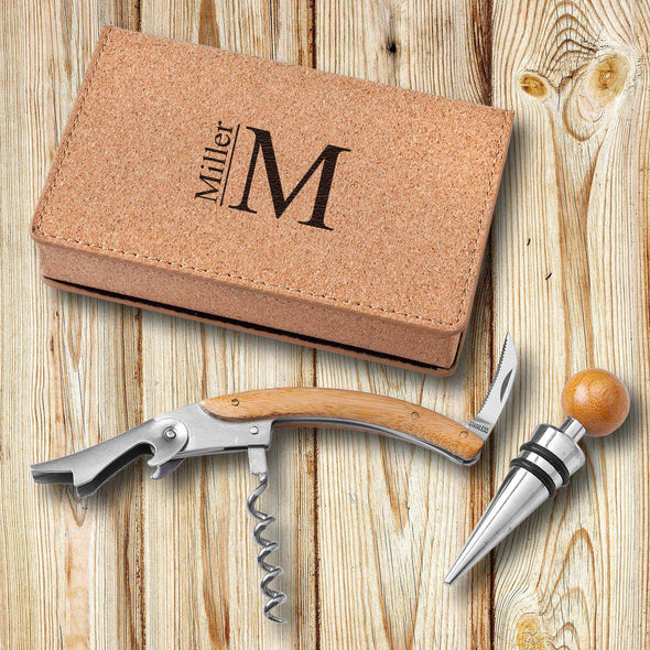 Personalized Cressa Cork Wine Opener Tool Set - Modern - JDS