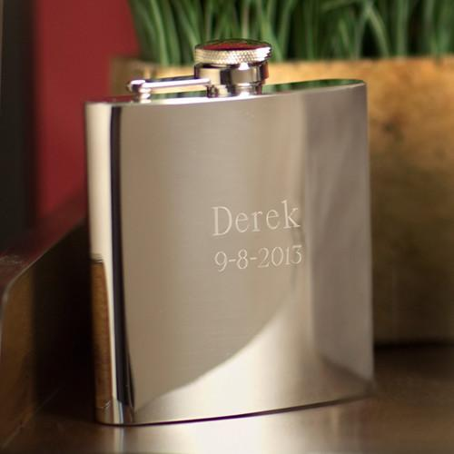 Personalized High Polish Stainless Steel Flask  - 7 oz.