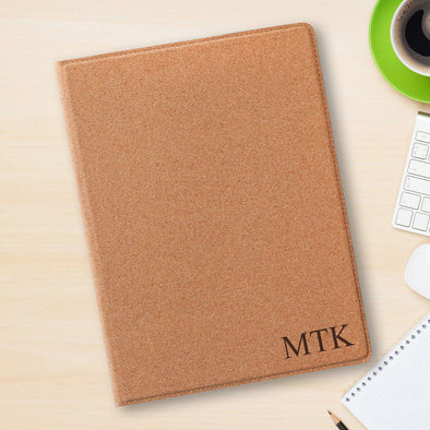 Personalized Portfolio with Notepad - Cork Padfolio -  - JDS