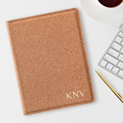Monogram Cork Passport Holder - Stamped Foil - Gold - JDS