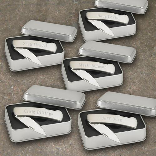 Personalized Set of 5 Stainless Steel Pocket Knives