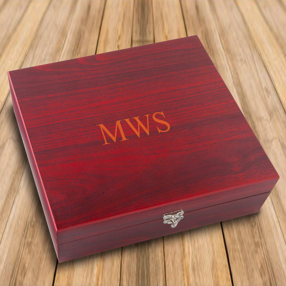Personalized Rosewood Martini Gift Set Box - 3Initials - JDS