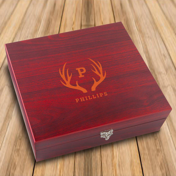 Personalized Rosewood Martini Gift Set Box - Antler - JDS