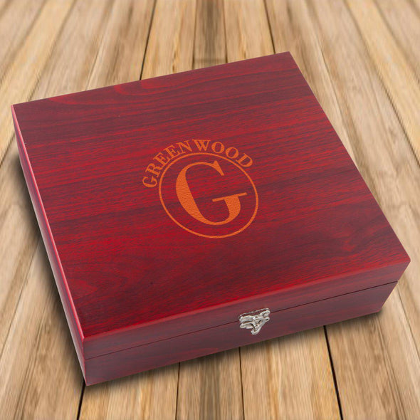Personalized Rosewood Martini Gift Set Box - Circle - JDS