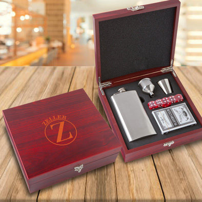 Personalized Elegant Rosewood Flask & Card Set -  - JDS