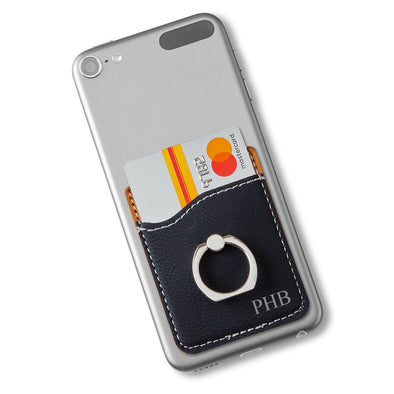 Leatherette Phone Wallet with Silver Ring - Black - 3Initials - JDS