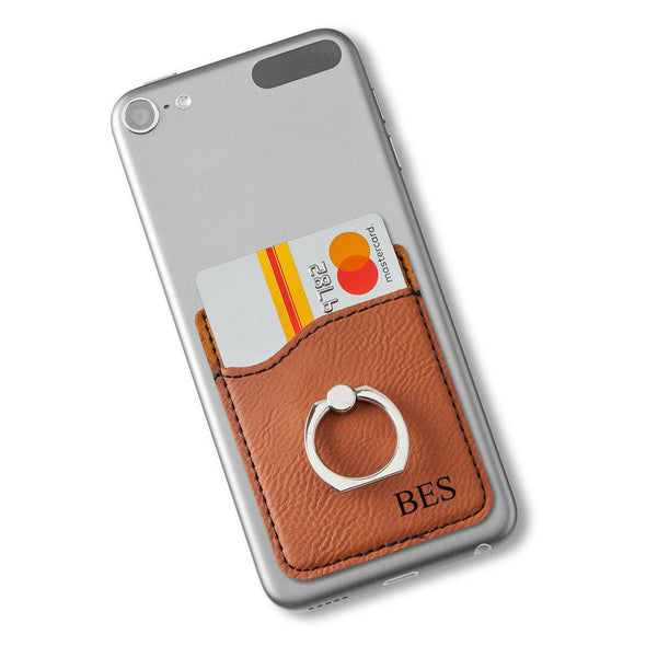 Vegan Leather Phone Wallet with Silver Ring - Rawhide - 3Initials - JDS
