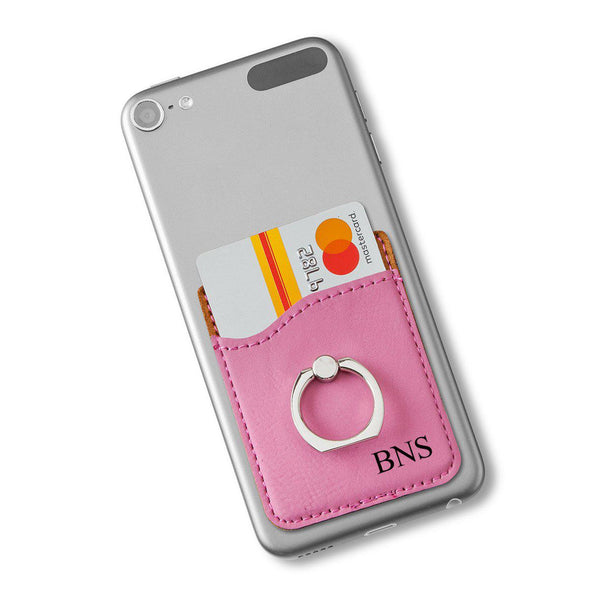 Vegan Leather Phone Wallet with Silver Ring - Pink - 3Initials - JDS