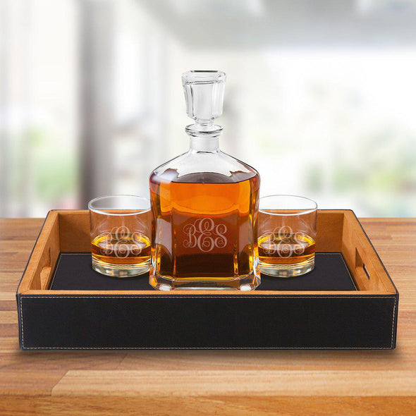 Personalized Black Leatherette Serving Tray with Decanter & 2 Lowball Glasses - IMF - JDS