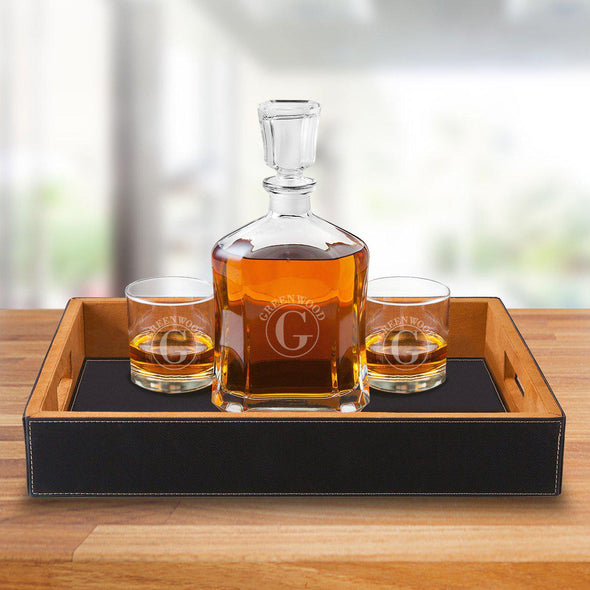 Personalized Black Leatherette Serving Tray with Decanter & 2 Lowball Glasses - Circle - JDS
