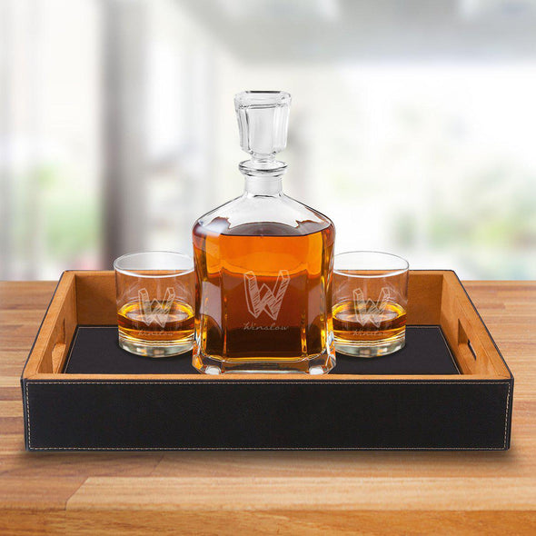 Personalized Black Leatherette Serving Tray with Decanter & 2 Lowball Glasses - Kate - JDS
