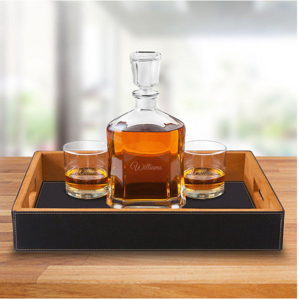 Personalized Black Leatherette Serving Tray with Decanter & 2 Lowball Glasses - Script - JDS