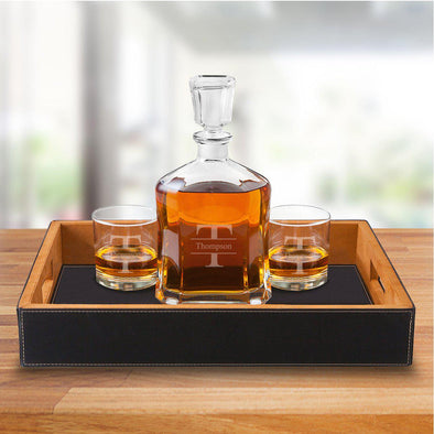 Personalized Black Vegan Leather Serving Tray with Decanter & 2 Lowball Glasses - Stamped - JDS