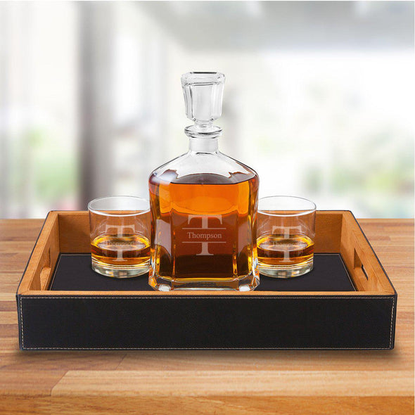 Personalized Black Leatherette Serving Tray with Decanter & 2 Lowball Glasses - Stamped - JDS