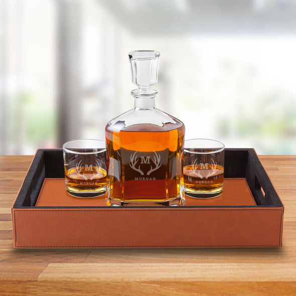 Personalized Decanter Set with Serving Tray & 2 Whiskey Glasses - Antlers - JDS