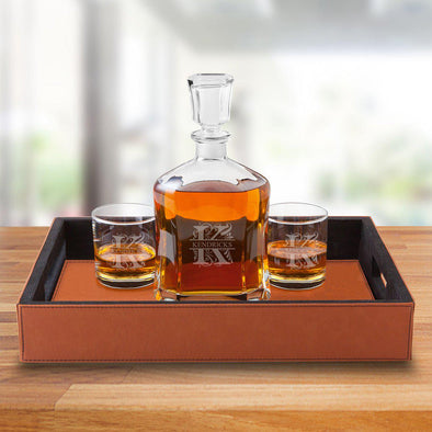 Personalized Decanter Set with Serving Tray & 2 Whiskey Glasses - Filigree - JDS