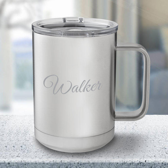 Personalized 15 oz. Tumbler Mug - Stainless Steel - Script - JDS