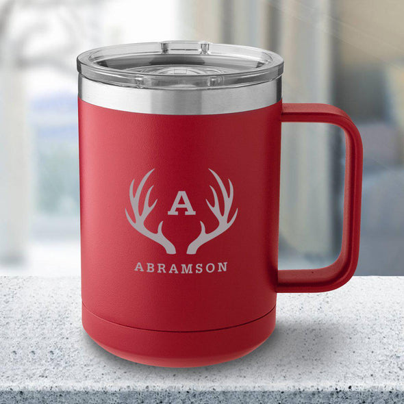 Personalized 15 oz. Tumbler Mug - Red - Antlers - JDS