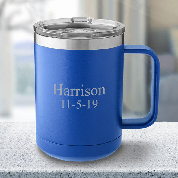 Personalized 15 oz. Tumbler Mug - Royal Blue - 2Lines - JDS