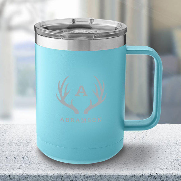 Personalized 15 oz. Tumbler Mug - Light Blue - Antlers - JDS