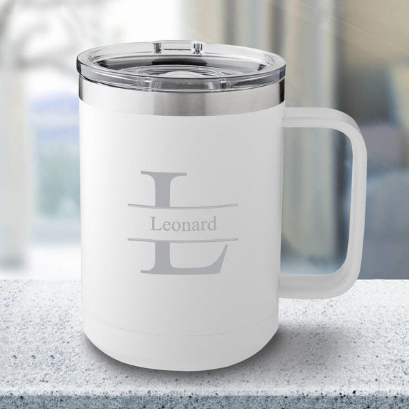Personalized 15 oz. Tumbler Mug - White - Stamped - JDS