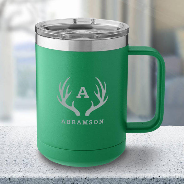 Personalized 15 oz. Tumbler Mug - Green - Antlers - JDS